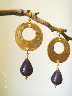 earrings+paper+gold+amethyst+paperleaf