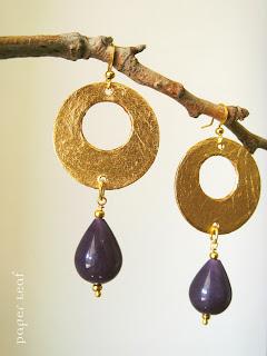 earrings+paper+gold+amethyst+paperleaf