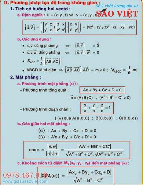 Phương pháp tạo độ trong không gian: Tích có hướng hai vectơ: định nghĩa, ứng dụng, mặt phẳng: phương trình mặt phẳng (tổng quát, đoạn chắn), góc giữa hai mặt phẳng; khoảng cách 1 điểm đến mặt phẳng