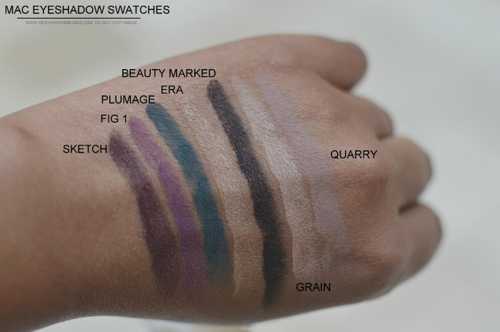 MAC Cosmetics Makeup Eyeshadows Swatches Sketch Fig1 Plumage Era Beauty Marked Grain Quarry Indian Beauty Blog Darker NC45 Skin