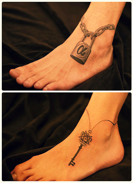 A matching lock and key tattoo design on the ankle for lovers