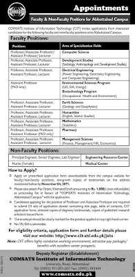 COMSATS Institute of Information Technology Abbottabad Campus Jobs
