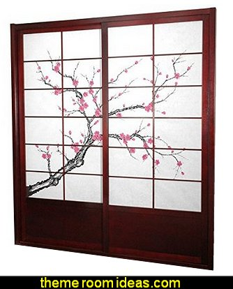 7 ft. Tall Cherry Blossom Shoji Sliding Door Kit - Rosewood