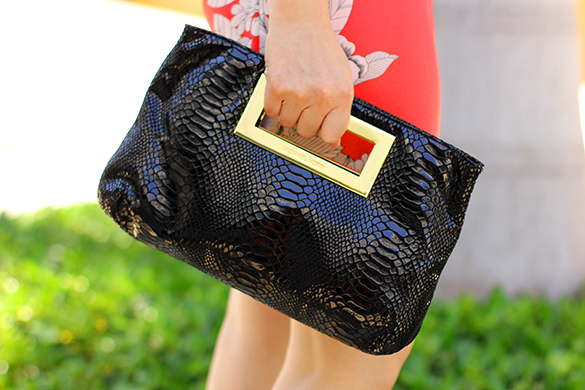 Michael Kors Black Snakeskin Clutch