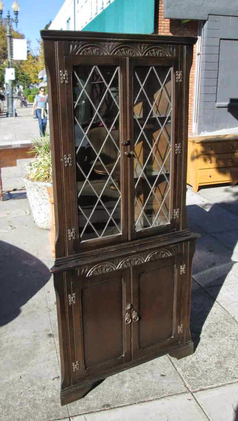 SOLD Dark Wood Corner Cabinet With Beautiful Details   $185
