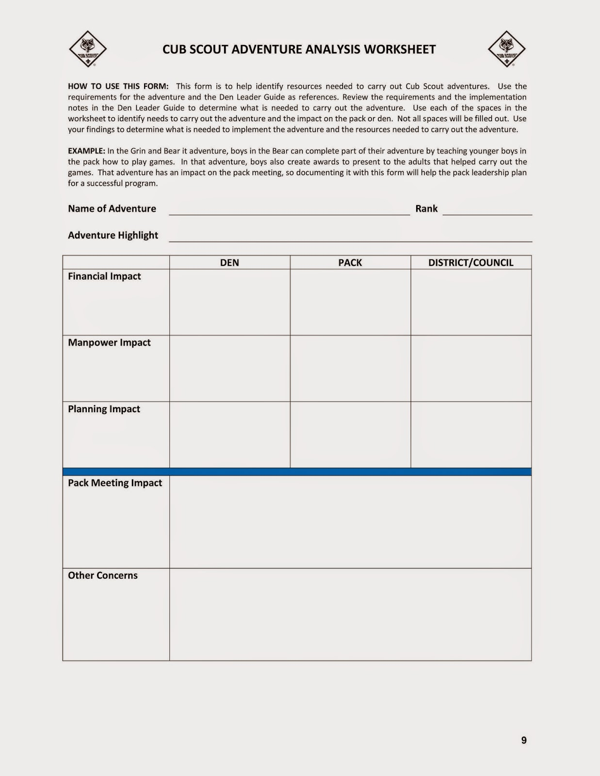 worksheet Boy Scout Worksheets bsa orem district unpc 2015 pack program by analyzing what impact to finances manpower and meetings the adventures will have your unit ahve a good idea of suport