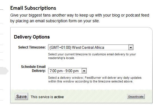 feedburner email delivery time
