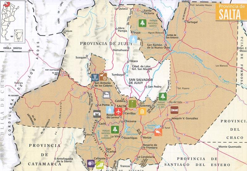 Salta Argentina Tourism Map - Argentina map salta