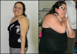 Antes com 107kg e depois com 87kg