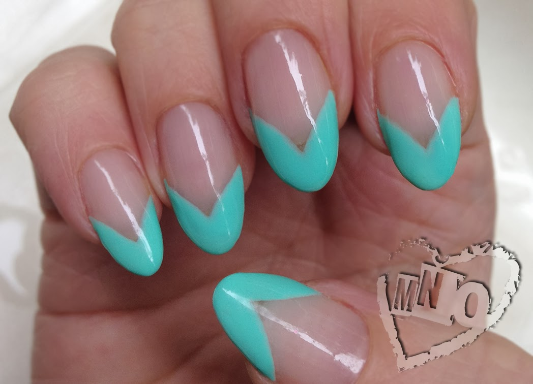 Simple Easy Nail Design Art Blue Green Claw French Pointed
