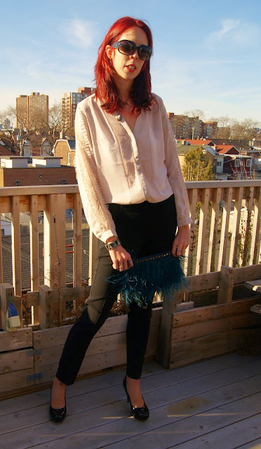 My Style: H&M Blouse, Joe Fresh Trousers, Aldo Clutch, Jessica Shoes from Sears, fashion, styletips, outfit, OOTD, lace, pants, shirt, attire, work, transition, The Purple Scarf, Melanie.Ps, Toronto, Ontario, Canada