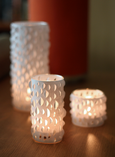 tutorial recipientes para velas, DIY cut-paper candle holder