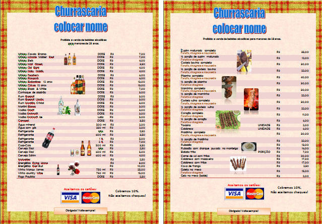 Modelo Template De Menu Card Pio Edit Vel Para Bar Churrascaria
