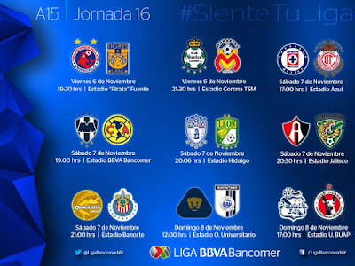 Partidos Jornada 16, apertura 2015