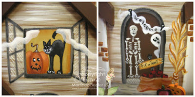 wood halloween house window and door