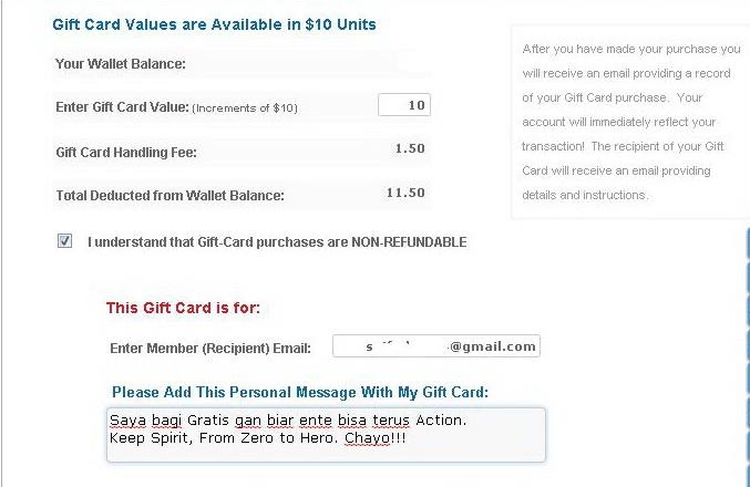 Jumlah Dana yang diberikan Gift Card