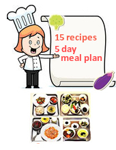 Image of a chef pointing to a sign reading, 15 recipes, 5 day meal plan. Images of meals are below the chef image.