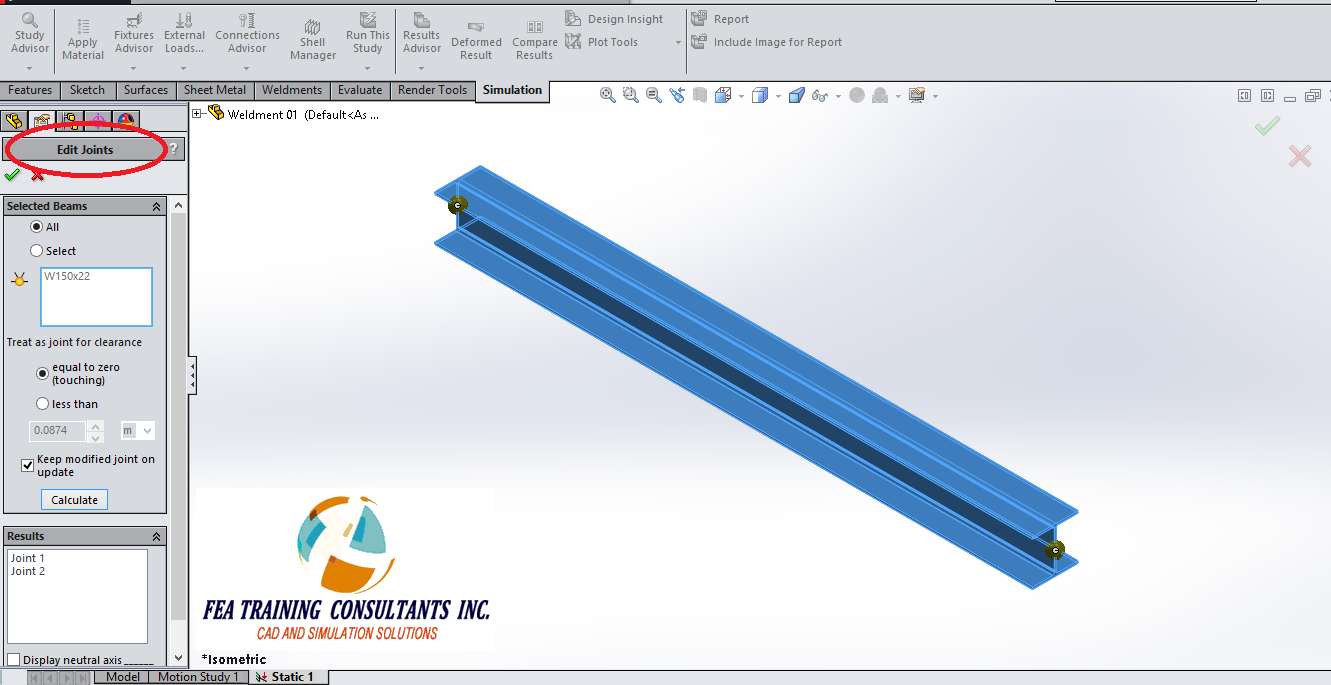 edit joint groups in weldment- SolidWorks Simulation