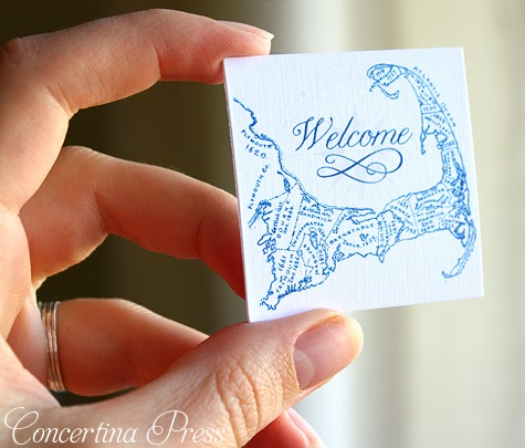 cute little Cape Cod welcome tags for a wedding