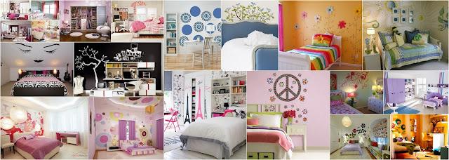 наклейки и принты на стенах в дизайне комнаты для подростка девочки фото