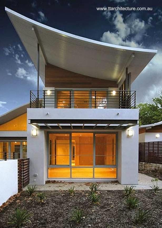 Arquitectura de casas casa doble moderna de techos curvos for Techos economicos para casas