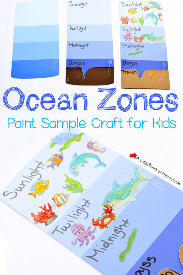 Learning About the Layers of the Ocean Paint Sample Craft for Kids – Ocean Zones Worksheet