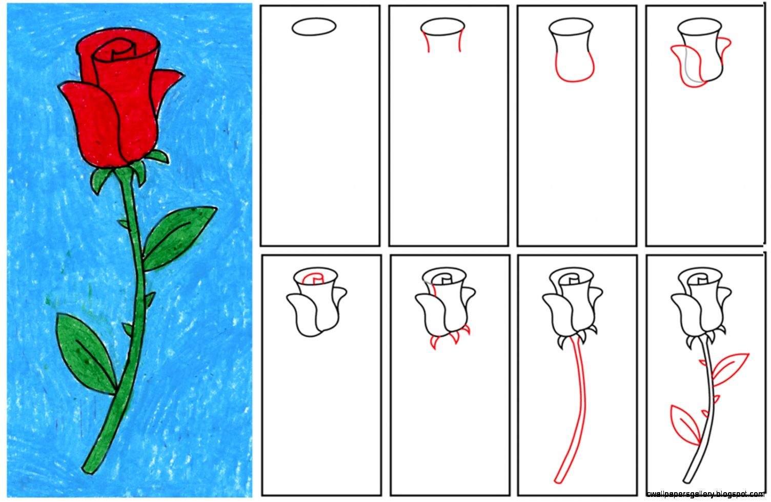 Rose Drawing Step By Step For Kids