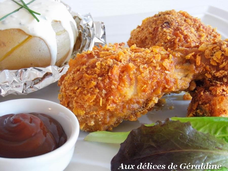 Aux d lices de g raldine pilon de poulet pan l 39 am ricaine cuisson au four et pommes de - Cuisson blanc de poulet au four ...