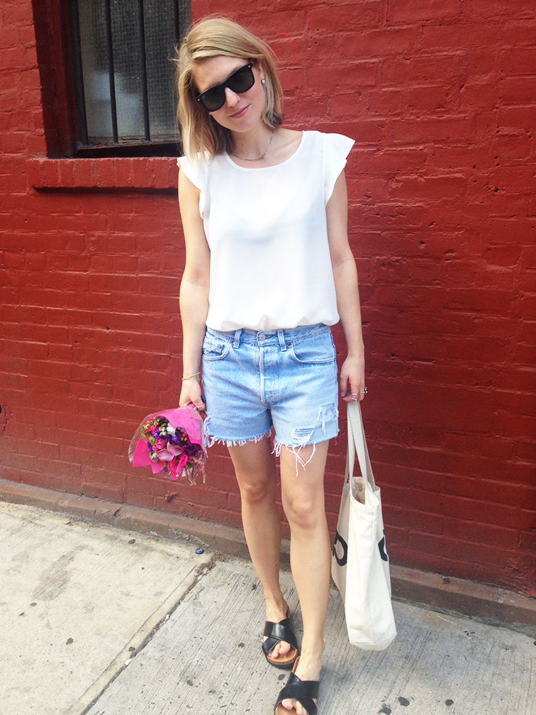 Ray-Ban Wayfarers, white silk top from Joe Fresh, vintage distressed levi's cutoffs, black slides birkenstocks, Lauren Wolf pearl earrings