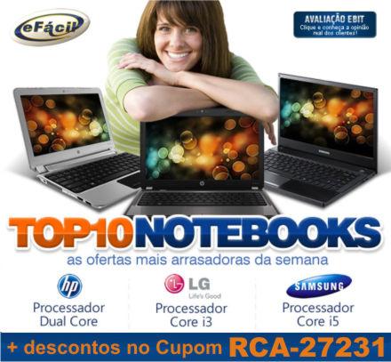 Cupom Efácil - Top 10 Notebooks