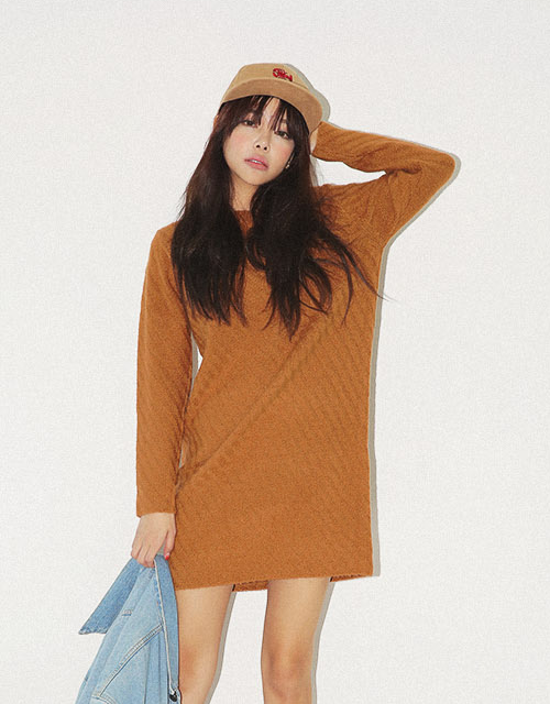 Diagonal Knit Basic Dress