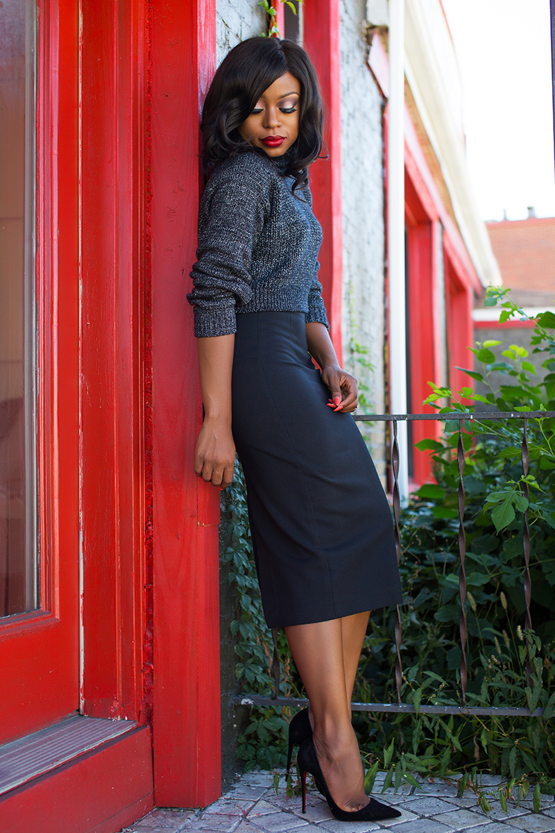 Fall work style, Zara pencil skirt  and cable knit sweater