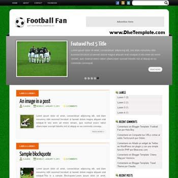 Football Fan blogger template. blogger template for sport blog. blogspot template free with featured slider