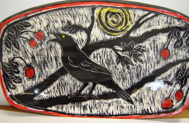 Black Bird Stealing Cherries