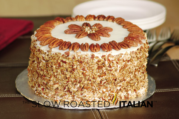 ... carrot cake with a luxurious cream cheese frosting and toasted pecans