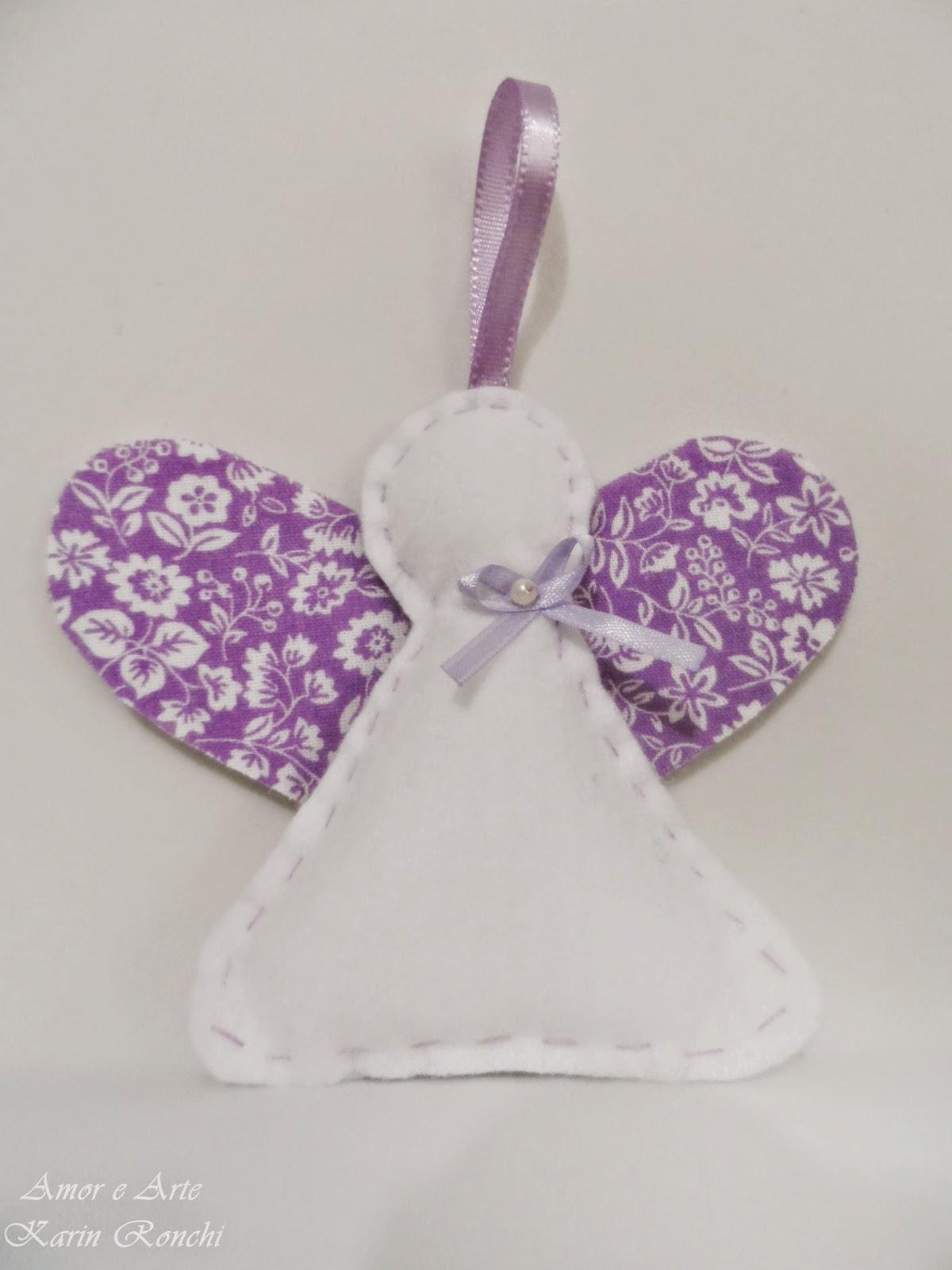Anjinho em feltro, lilás - perfumado