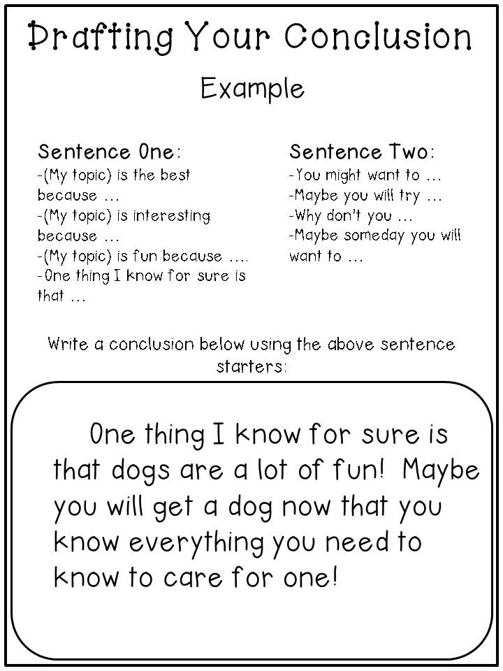 Conclusion Examples For Kids writing informational text -- step by ...