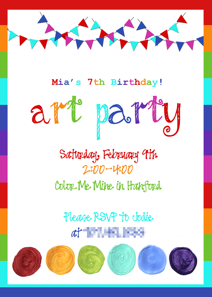 birthday party rainbow invitation