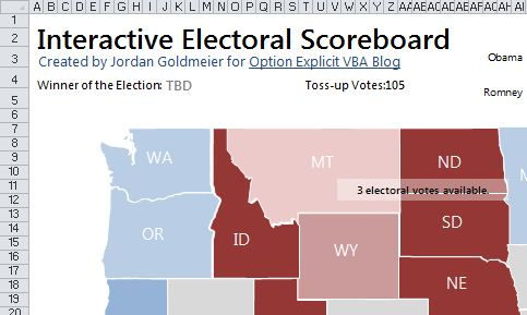 Interactive United States Presidential Scoreboard In Excel - Us map 2012 presidential election