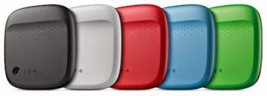 O HD portátil sem fio Seagate Wireless funciona com smartphones e tablets iOS e Android e está disponível em cinco cores diferentes