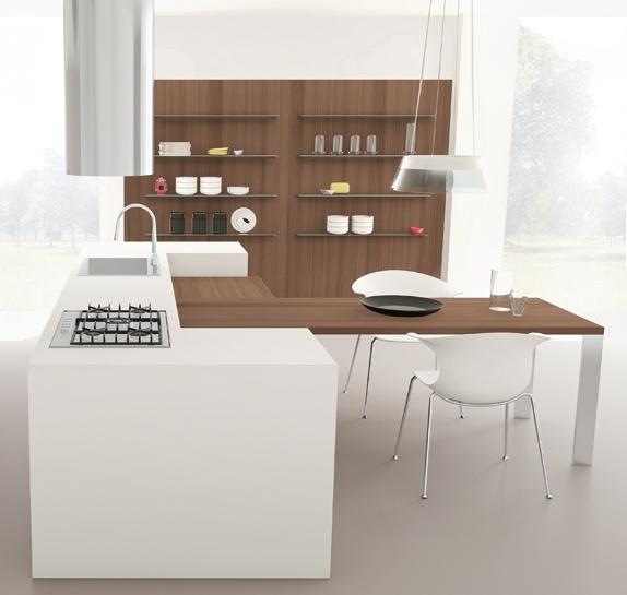 20 formas de incorporar una mesa en la cocina cocinas for Mesa encimera cocina