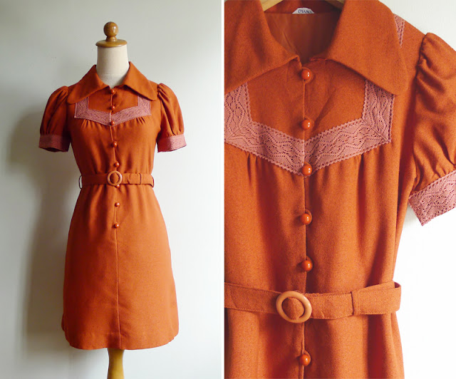 vintage barrymore collar crochet trim dress