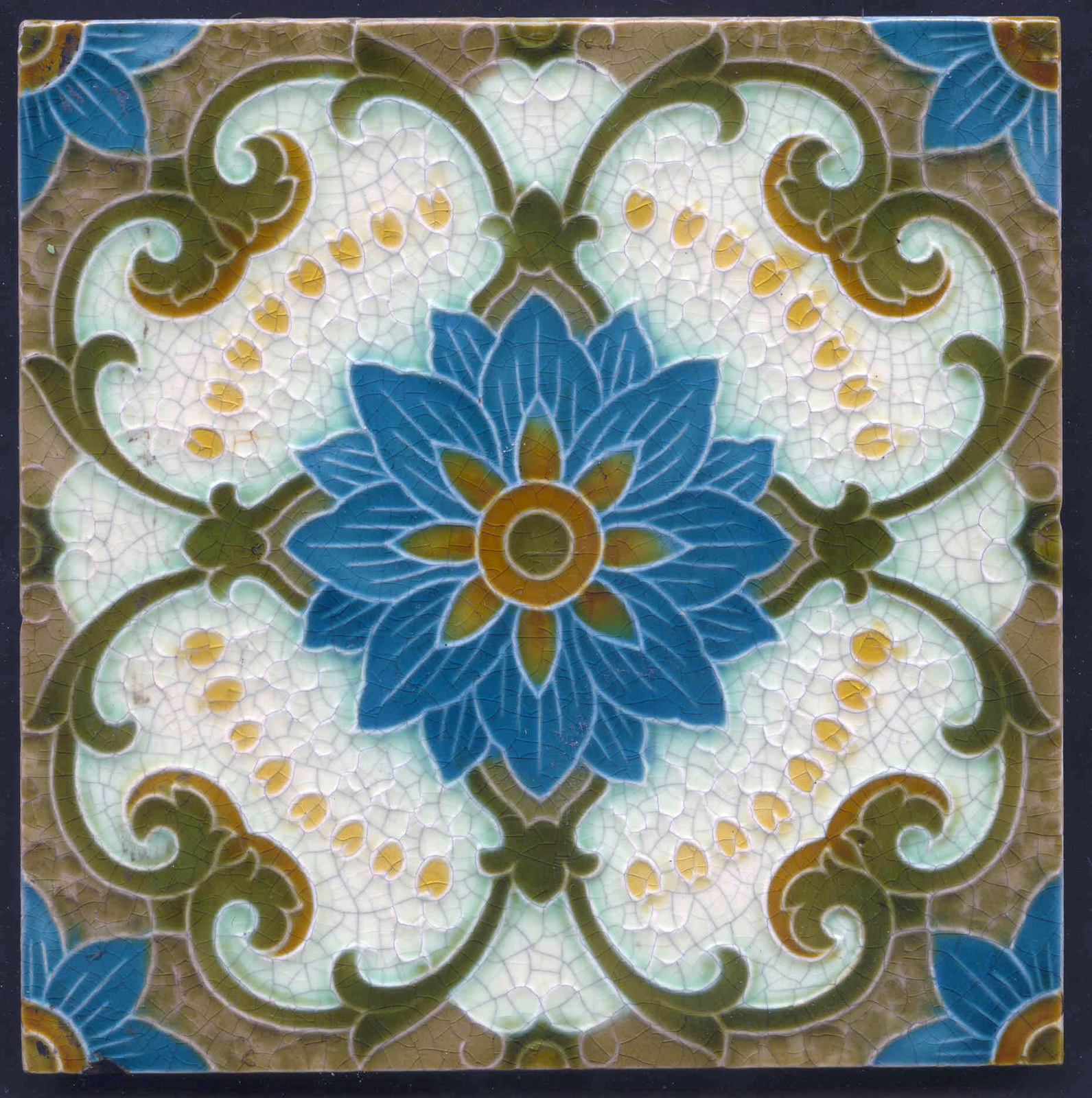 Glazed and confused majolica showcase minton majolica tiles for Art nouveau tile mural