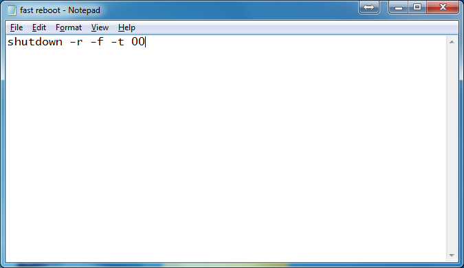 text syntax reboot komputer dengan cepat