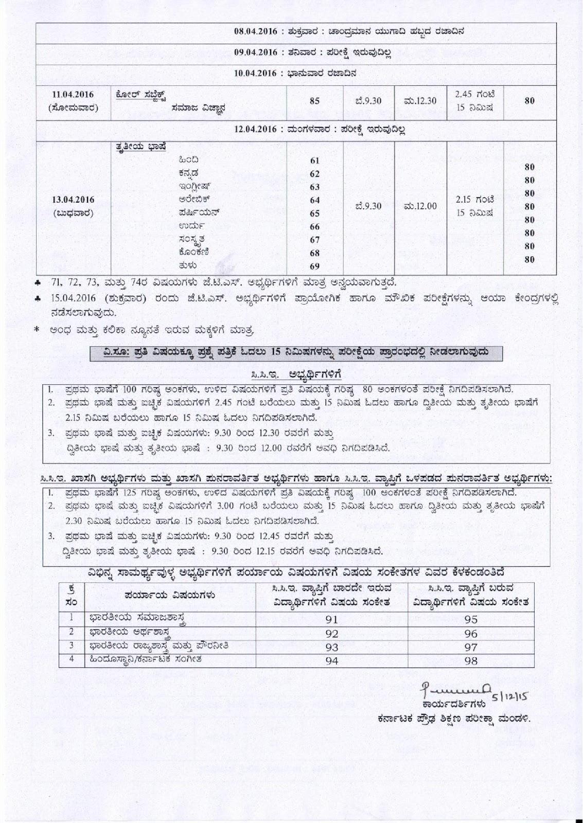 Karnataka board sslc time table 2016 marchapril karnataka karnataka board sslc time table 2016 marchapril malvernweather Images