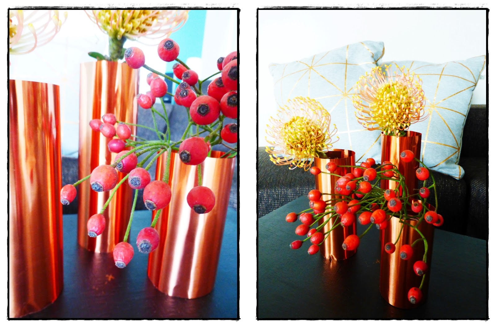 DIY Blumenvase aus Prägefolie in Kupfer