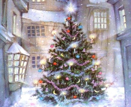 Dibujo del Arbol de navidad adornado ubicado en una calle en Invierno