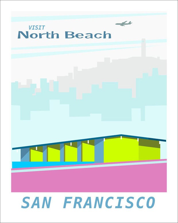 forgotten modernism, michael murphy,san francisco,illustration,ilustraciones, US, united States, Estados Unidos,pink,green,blue, pastel colors, rosa,verde,azul,building, air plane,avion,edificio,arquitectura,sky line