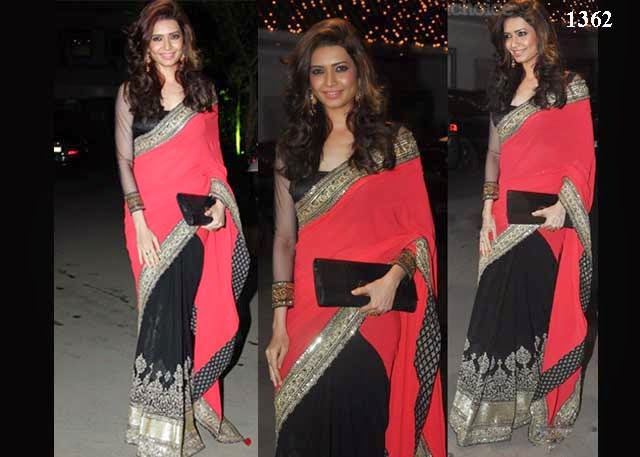 1362-Karishma Tanna In Red And Black Saree