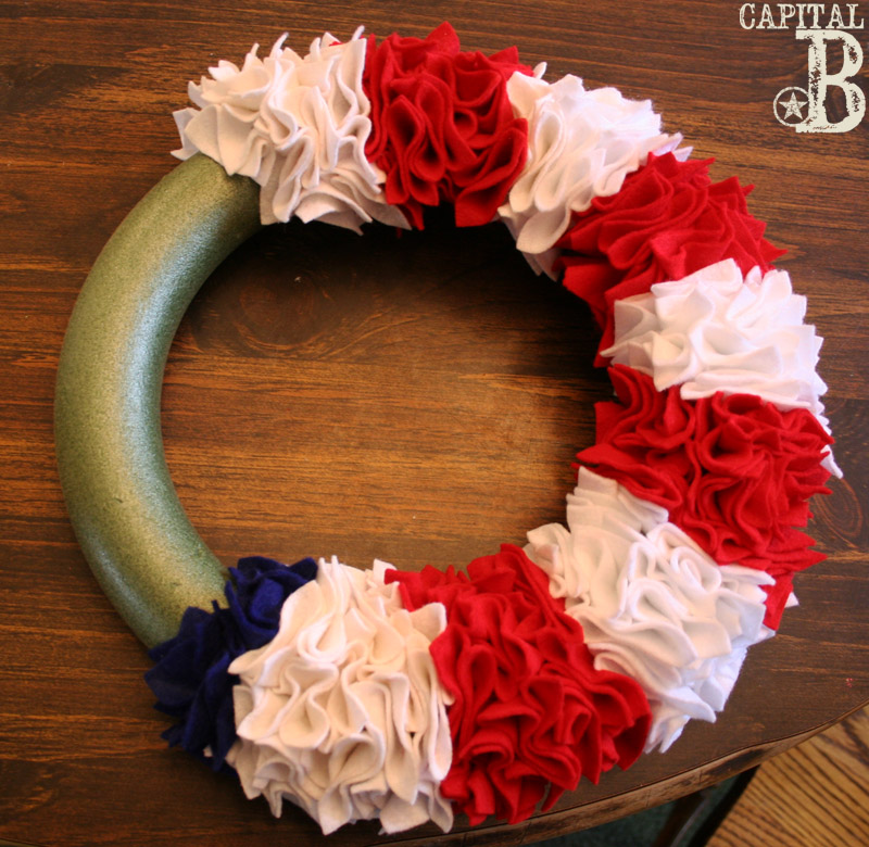 Capital b ruffly patriotic wreath tutorial for Americana crafts to make